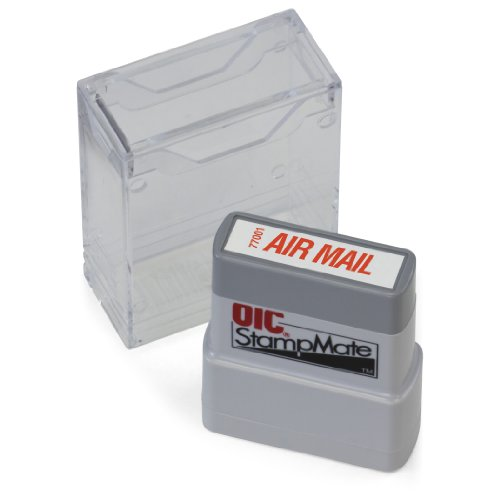 """OfficemateOIC Office Pre-Inked Message Stamp, """"Air Mail"""", Red, Refillable (77001)"""