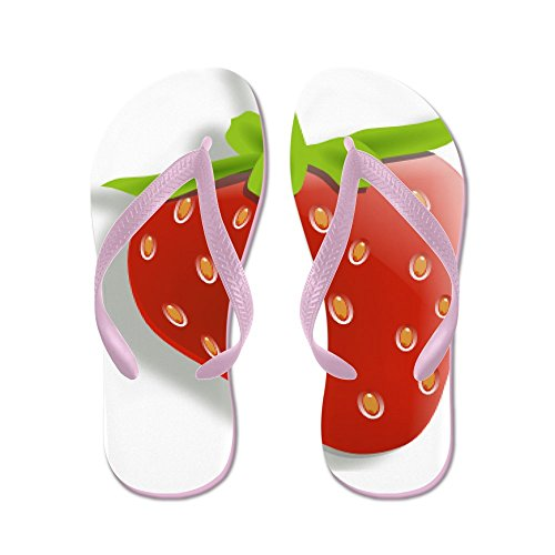 Cafepress Strawberry - Chanclas, Sandalias Thong Divertidas, Sandalias De Playa Rosa