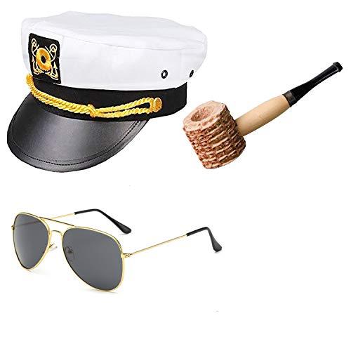 Yacht Captain & Sailor Costume Accessories Set - Hat,Corn Cob Pipe,Aviator Sunglasses,Vintage Anchor Temporary Tattoo (OneSize, C1)