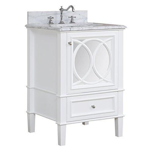 Olivia 24-inch Bathroom Vanity (Carrara/White): Includes Italian Carrara Countertop, a White Cabinet, -