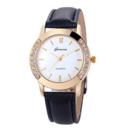 DWD Geneva Fashion Women Diamond Analog Leather Quartz Wrist Watch Watches (black)