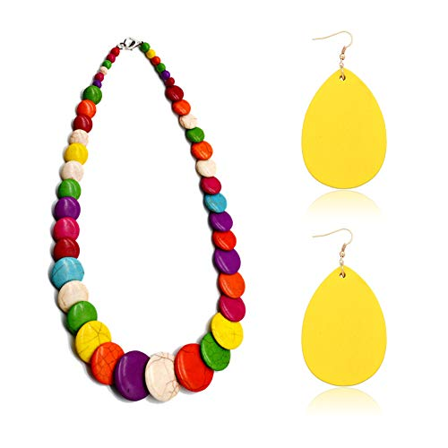 - Vintage Colorful Drop Stone Bead Wood Dangle Earrings Stone Necklace Set For Women Girls Alloy (Colorful Set)