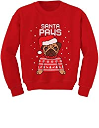 TeeStars - Santa Paws Pug Ugly Christmas Sweater Dog Toddler/Kids Sweatshirts
