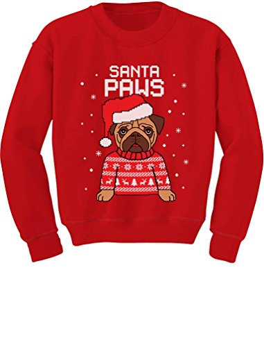 Santa Paws Pug Ugly Christmas Sweater Dog Toddler/Kids Sweatshirts 3T Red