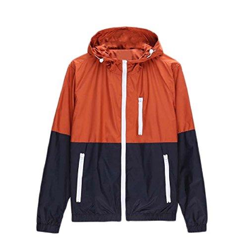 Men Sunscreen Sleeve Long Jacket Orange Contrast Coat Thin Howme Hoodie BcTWHvc