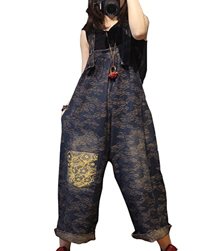 YESNO PX7 Women Casual Loose Jacquard Jeans Boyfriend Jumpsuits Rompers Distressed Embroidered Patchwork/Pockets ()