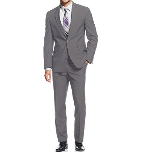 Braveman Mens Classic Fit Single Breasted 2 Piece Suit, Light Grey, Size 40R/34W