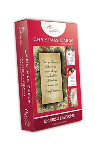 12 Greeting Card Pack Christmas Holiday Boxed Cards With Religious Scriptures (KJV) Xmas Box Set Assorted