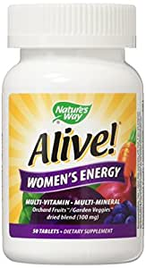 Nature's Way - Tableta Alive!, Multivitaminas y Multiminerales, Energía para la Mujer, 50 Tabletas