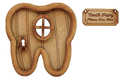 ree-dimensional Self-Assembly Wooden Fairy Door Craft Kit with 'Tooth Fairy' Sign. ()