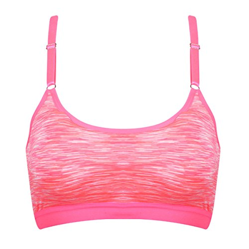 Jfin Mujeres Suéter Sujetador Nylon Activa Cremallera Frontal Gris Indy Pro,Pink-L Pink