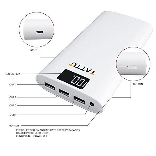 Power Bank Tattu 10400 mAh cargador portátil de alta velocidad 3 unidades, batería externa con salida USB, pantalla LED para iPhone 7 iPad Samsung Galaxy ...