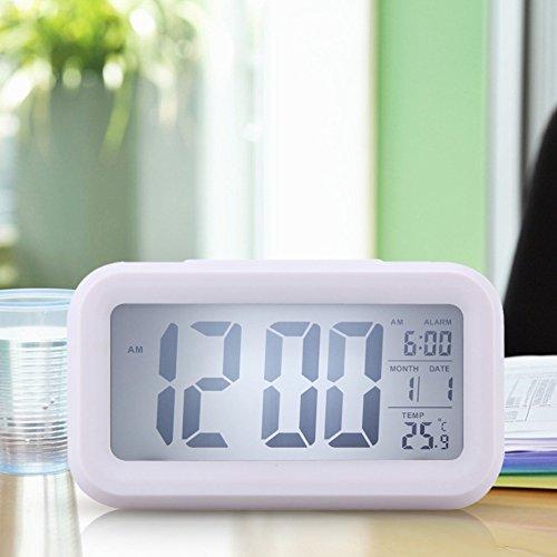 Time Date Alarm Clock Temperature Display LED Alarm Clock Light-activated Sense Snooze Function Calendar Digital Clock Reveil