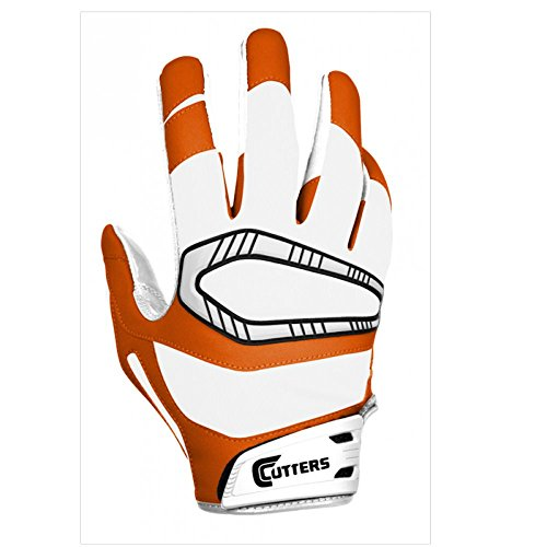 Cutters Rev Pro Gloves, White/Burnt Orange, Adult Medium