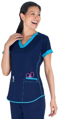 NrG by Barco Women's 3 Pocket Squared V-Neck Scrub Top