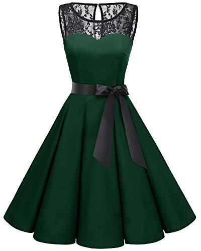 - Bbonlinedress Women's 1950s Vintage Rockabilly Swing Dress Lace Cocktail Prom Party Dress Deep Green 2XL