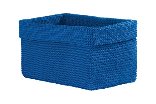 Heritage Lace Mode Crochet Rectangle Basket, 12 by 8 by 9-Inch, Cobalt Blue