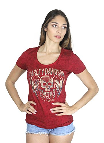 Winged Skull T-shirt - Harley-Davidson Womens Forever Rebel Winged Skull Luna Wash Red Shirt (XXL)