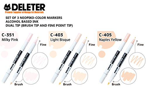 Deleter Neopiko-Color [ Alcohol Based, Dual Tip Markers ] Set of 3 Markers [ Skin Set : (351) Milky Pink , (403) Light Bisque , (405) Naples Yellow ] For Comic Manga Graphic Design and Illustration - Naples Three Light