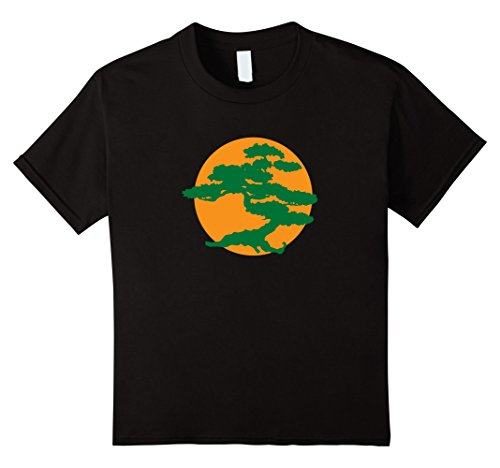 Children's Orca Costume (Kids Japanese Bonsai Tree & Orange Sun Graphic Zen T-Shirt 8 Black)