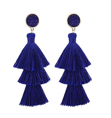 s Bohemian Tiered Thread Tassel Drop Dangle Earring with Druzy Stud Ear Earrings (Royal Blue) ()