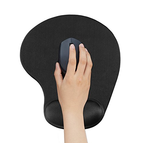 Mouse Pad with Wrist Support – Banpow Ergonomic Gaming Office Black Silicone Gel Wrist Support Mouse Pad Mat for Laptop Desktop - Non-slip Rubber Base Special-Textured Surface(Black)