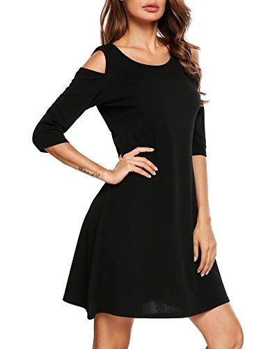 Beyove Femmes Casual Tunique Épaule Froid Dessus Balançoire T-shirt Robe Lâche Manches 3/4 Noir
