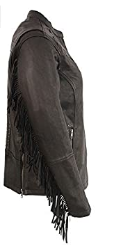 Milwaukee Leather Womens Lightweight Scuba Racer Jacket with Fringe 1 Pack MLL2565-BLK-MD Black, Medium