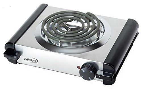 Premium PEB135 Single Electric Burner, Silver by Premium
