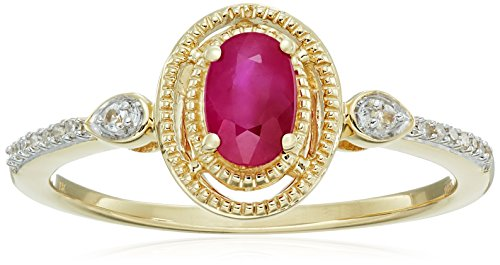 10k Yellow Gold Genuine Burmese Ruby Oval with Genuine White Sapphire and White Diamond Accent Fashion Ring, Size 7 Burmese Ruby