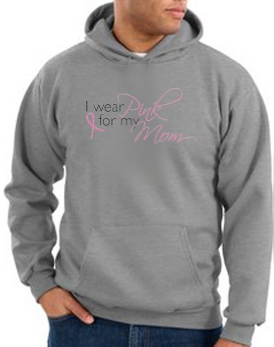 Breast Cancer Awareness Ribbon I WEAR PINK FOR MY MOM Adult Hooded Pullover Sweatshirt Hoody Hoodie - Athletic Heather, Small