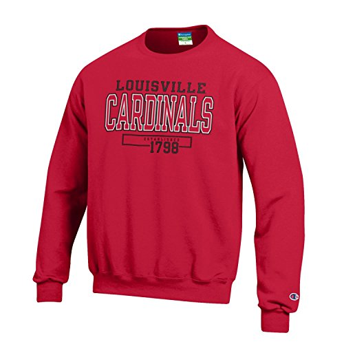 Champions Football Card - Champion NCAA Men's Long Sleeve Eco Powerblend Sweatshirt Unisex Officially Licensed Crewneck Fleece Louisville Cardinals X-Large