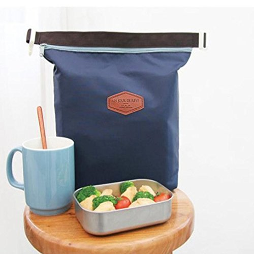 YJYdada Waterproof Thermal Cooler Insulated Lunch Box Portable Tote Storage Picnic Bags (Navy)