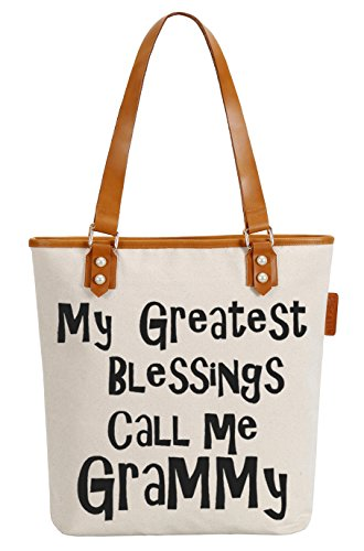 So'each Women's My Greatest Grammy Canvas Tote Pearly Top Handle Shoulder Bag