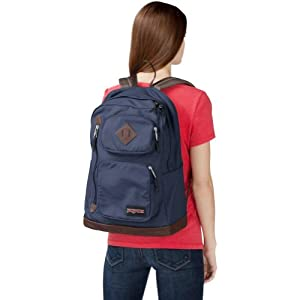 "JanSport Houston Urban Backpack - Navy Moonshine - 17.7""H x 12.8""W x 5.5""D"