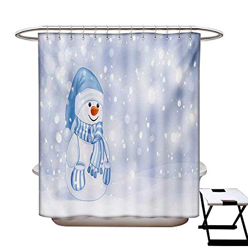 - Winter Shower Curtains Sets Bathroom Kids Toddler Design Happy Snowman Cartoon Style Figure Merry Christmas Theme Satin Fabric Sets Bathroom W69 x L70 Pale Blue White