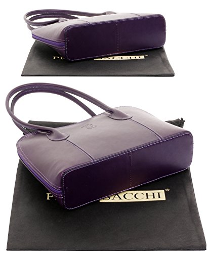Handled Tote Sacchi Classic Style Primo Protective Branded A Hand Long Made Leather Purple Bag Includes Storage Handbag Grab Smooth Or Italian Shoulder Bag Pwqdzw4