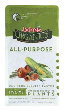 Jobe's Organics All Purpose Fertilizer with Biozome, 4-4-4 Organic Fast Acting Granular Fertilizer for All Plants, 4 pound bag (Tomato Soluble Water)