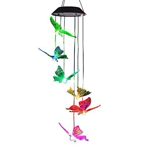 Lainin LED Solar Wind Spinner Color Changing Butterfly Mobile Wind Chime Lamp For Home Outdoor Garden Patio Decor