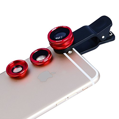 3-in-1 Clip Lens for Mobile Phones and Tablets Set of 2 (Red) - 9