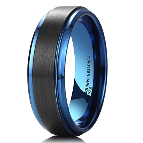 King Will 8mm Black Brushed Blue Tungsten Carbide Wedding Band Ring Polish Finished Comfort Fit 10