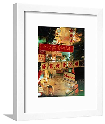 ArtEdge Chinese Banners Hanging at Wet Market, Central, Hong Kong, China Ray Laskowitz, White Framed Matted Wall Art Print, 12x9 (Market Central Hong Kong China)