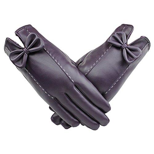 活性化ボーダーマーカーZhhlinyuan 良質 レディーズ Windproof Warm Gloves Fashion Bow tie PU Leather Screen Touch Gloves