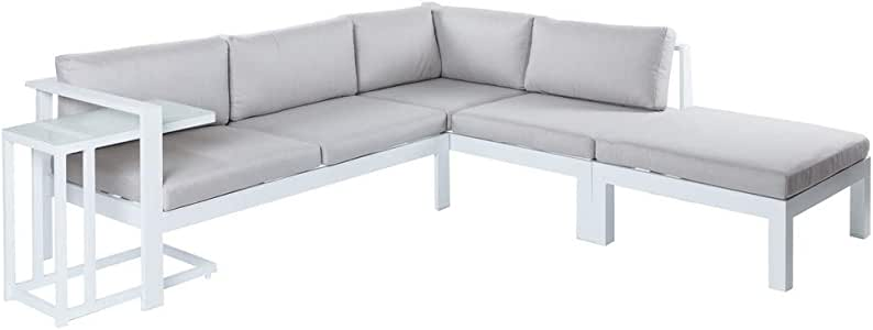 Conjunto de sofá de Exterior Blanco de Aluminio para jardín ...