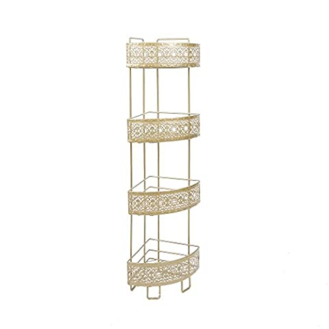 Silverwood BS1149-Gld-Com Corner Caddy, Gold (White And Gold Shelves)