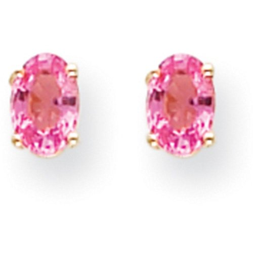 6x4mm Oval Pink Sapphire Earring - 1