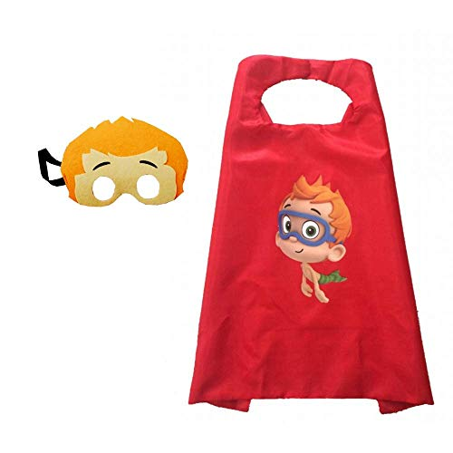 Bek Brands Bubble Guppies Kids Cape and Mask Set | Halloween Costume, Dress Up Play, Superhero Cape, Mask (Nonny) Blue]()