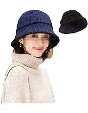 ZffXH Winter Cloche Striped Hats for Women Polar Fleece Velvet Bucket Fisherman Cap Cold Warmer