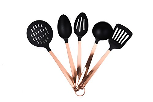 COOK with COLOR 5 Piece Nylon Cooking Utensil Set on a Ring with Rose Gold Copper Handles