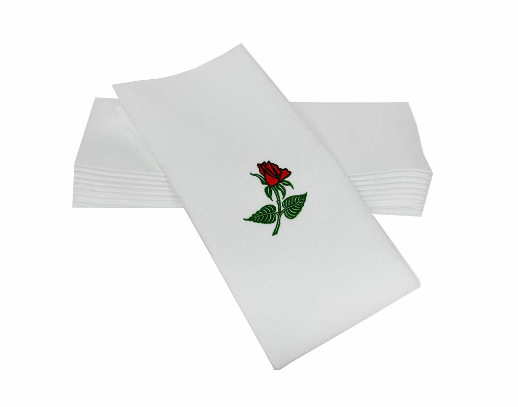 "SimuLinen Dinner Napkins – Red Rose – Decorative Cloth Like & Disposable Large Napkins – Soft, Absorbent & Durable (19""x17"" – Box of 60)"